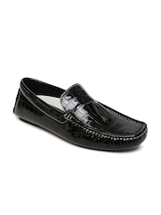 Bata Men Black Patent Leather Textured Tassel Loafers