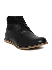 Knotty Derby Men Black Solid Dobby Leather Flat Boots