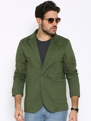 The Indian Garage Co Olive Green Single-Breasted Slim Blazer