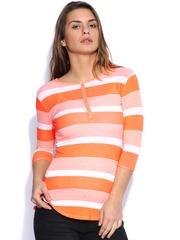 SPYKAR White & Fluorescent Orange Striped Top