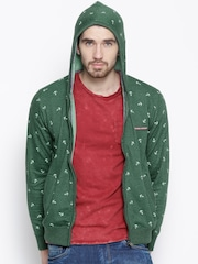 Cloak & Decker by Monte Carlo Green Hooded Printed Sweatshirt