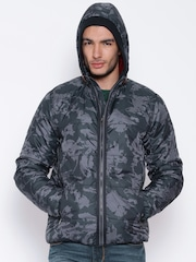 Pepe Jeans Charcoal Grey Camouflage Print Hooded Jacket