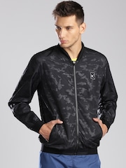 HRX by Hrithik Roshan Active Black Printed Windcheater Jacket