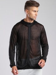 HRX by Hrithik Roshan Active Black Sheer Hooded Jacket