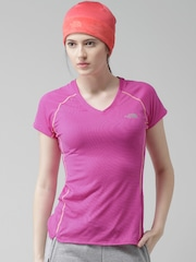 The North Face Pink GTD Self-Striped Running T-shirt