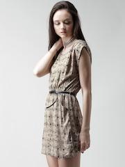 FOREVER 21 Beige Printed Belted Dress
