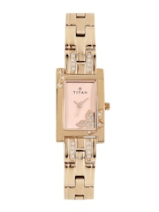 Titan Women Rose Gold-Toned Dial Watch 9716WM01J