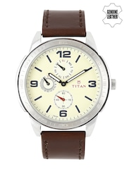 Titan Men Cream-Coloured Dial Watch 1585SL05