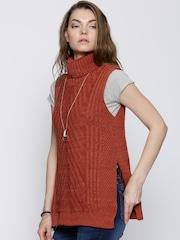 Boohoo Rust Orange High Slit Sleeveless Sweater