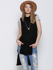 Boohoo Black High-Low Winter Tunic
