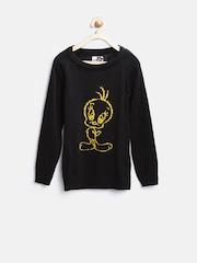 Tweety by Kids Ville Girls Black Sweater