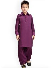 K&U Boys Purple Pathani Kurta Pyjama