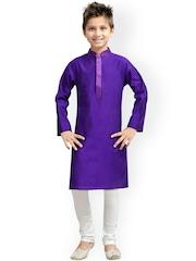 K&U Boys Purple & White Silk Kurta Pyjama Set