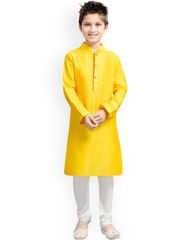 K&U Boys Yellow & White Kurta Pyjama Set