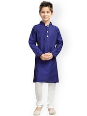 K&U Boys Blue & White Silk Kurta Pyjama Set