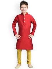 K&U Boys Red & Yellow Silk Kurta Pyjama Set