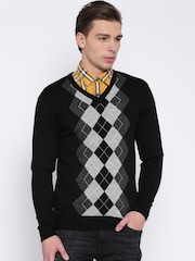 People Black & Grey Melange Argyle Sweater