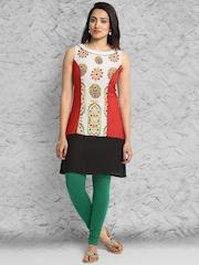 IMARA by Shraddha Kapoor Off-White & Red Printed Kurta
