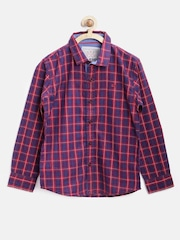 GJ Unltd Jeans by Gini & Jony Boys Navy & Red Slim Checked Shirt