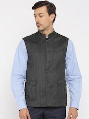 Van Heusen Charcoal Grey Slim Fit Nehru Jacket