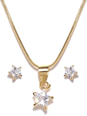 Zaveri Pearls Gold-Toned CZ Stone-Studded Earrings & Pendant Set with Chain