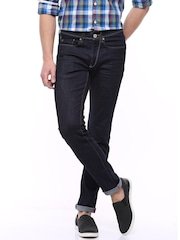 Allen Solly Navy Comfy Tapered Fit Jeans
