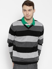 Allen Solly Grey Melange & Black Striped Sweater