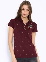Ed Hardy Burgundy Printed Polo T-shirt