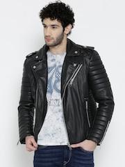 BARESKIN Black Panelled Leather Jacket