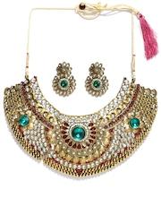 Zaveri Pearls Green Gold-Plated Stone-Studded Jewellery Set