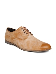 San Frissco Men Tan Brown Leather Semiformal Shoes