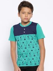 YK Boys Green & Navy Printed Henley T-shirt