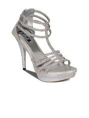 Kielz Women Silver-Toned Embellished Heels