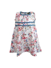 A Little Fable Girls White Printed Fit & Flare Dress