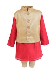 A Little Fable Boys Red & Gold-Toned Kurta Pyjama with Waistcoat