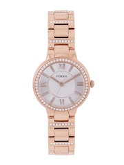 Fossil Women White & Silver-Toned Stone-Studded Dial Watch ES3284I