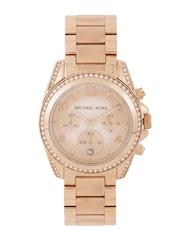 Michael Kors Women Chronograph Peach-Coloured Stone-Studded Dial Watch 5263I