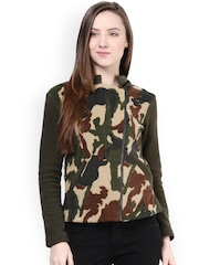 The Vanca Green Camouflage Printed Jacket