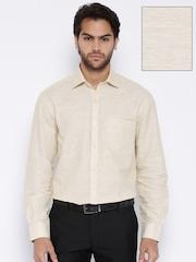 John Players Beige Regular Fit Formal Linen Shirt