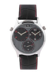 maxima Attivo Men Grey Striped Dual-Dial Watch 30603LMGI