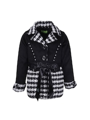 CUTECUMBER Girls Black & White Printed Coat