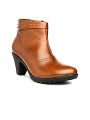 Bruno Manetti Women Tan Brown Heeled Boots