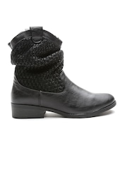 Qupid Women Black Knitted Boots