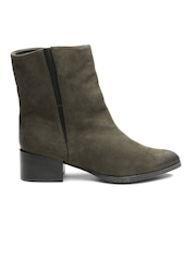 Qupid Women Olive Green Heeled Boots