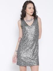 Vero Moda Black & Silver-Coloured Sequinned Shift Dress