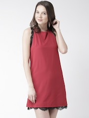 FOREVER 21 Maroon Shift Dress with Lace Detail