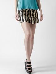 FOREVER 21 Black & Golden Striped Shorts
