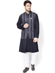 even Black & Grey Striped Slim Fit Nehru Jacket