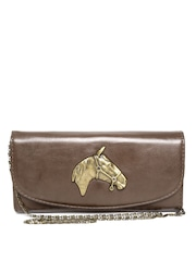 The Riders Side Brown Horse Head Leather Clutch