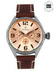 Titan Men Rose Gold-Toned Dial Watch 9478QL04J